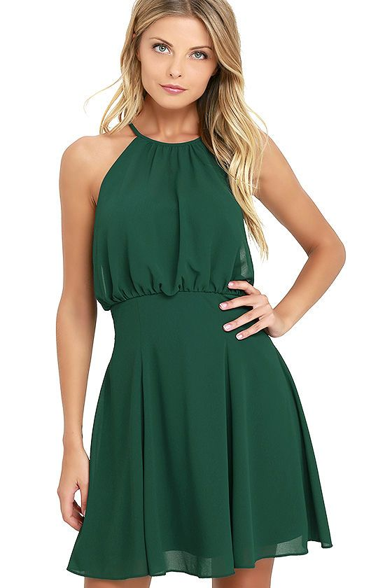 It takes a truly special dress to take your breath away, so brace yourself, because the Mesmerizing Moment Forest Green Skater Dress is the one! Lovely chiffon creates a halter neckline (with back clasp) as it overlays a sweetheart bodice with no slip strips. A flirty, pleated skater skirt completes the look. Hidden back zipper/hook clasp.
