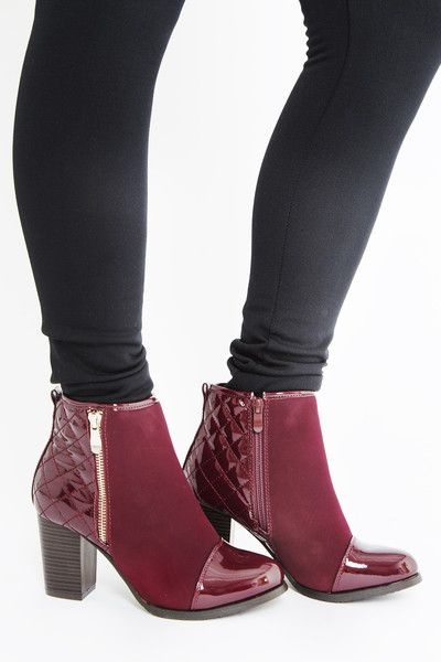 Darby Quilted Bootie #accessories #booties #chic #classic #cranberry #darby #equestrian #fabric #patent #preppy #quilted #shoes #vegan #women #womens