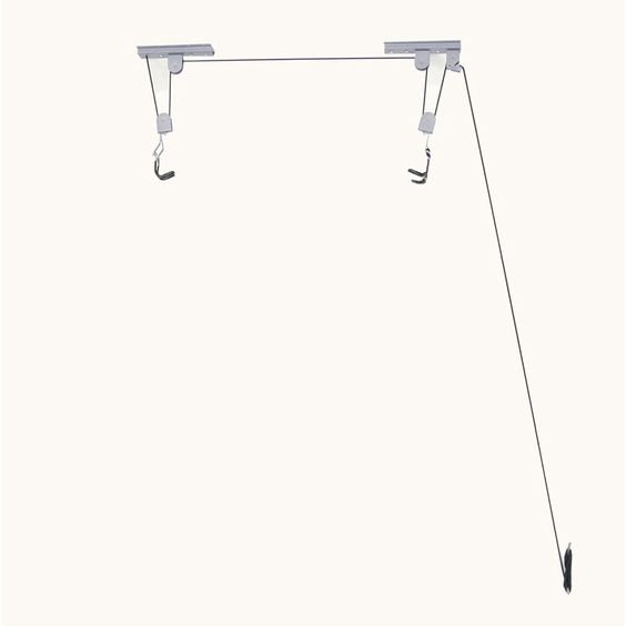 Save floor space with the auto lock pulley hoist system.
