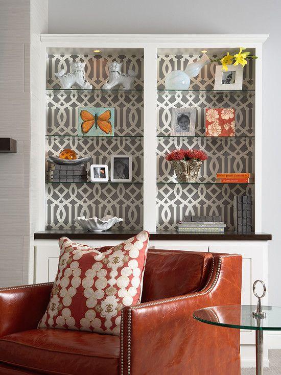 Love the wallpaper in the bookcase