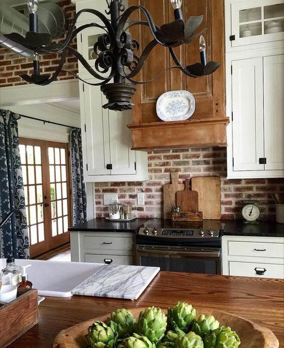 Rustic Antique White Kitchen Cabinets: Rustic Wood, Iron Chandeliers And Ceilings On Pinterest