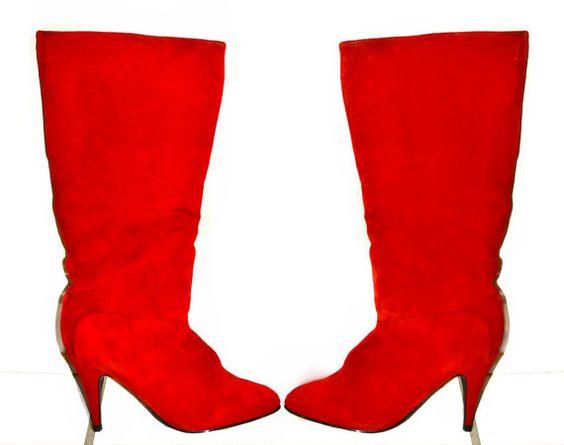 Vintage 80 s cuir bottes rouges Stilleto mi-bas de blanchisserie chinoise taille 8
