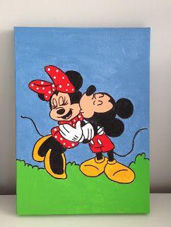 Tela 16cmx22cm, desenhada e pintada à mão livre, que faz parte da Coleção Amores Eternos - Mickey & Minnie