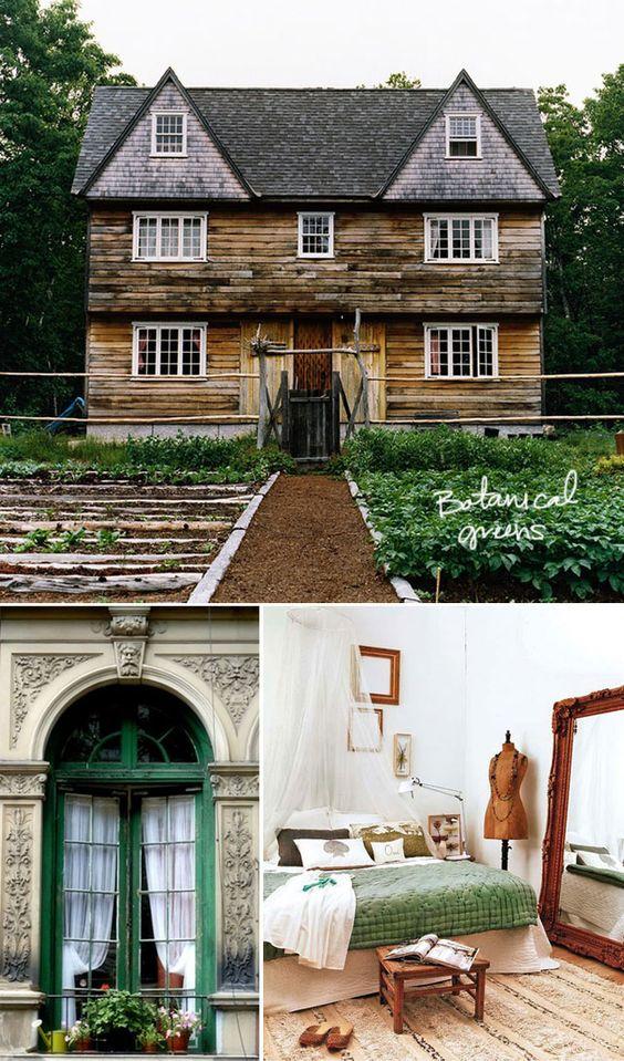 coo coo la la: Botanical Greens, Green trim, garden, wood