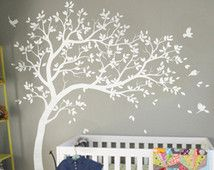 Autocollant mural blanc arbre wall stickers p pini re for Decalque mural