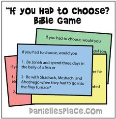 """""""If You Had to Choose?"""" Printable Bible Card Game for Groups - This Bible game is great for get-togethers, Sunday school, and special events."""