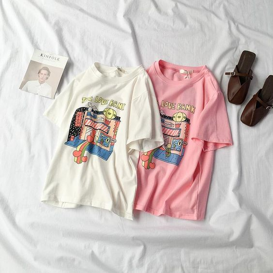 T-shirt - WHITE PINK COTTON T-SHIRT PRINTING HARAJUKU