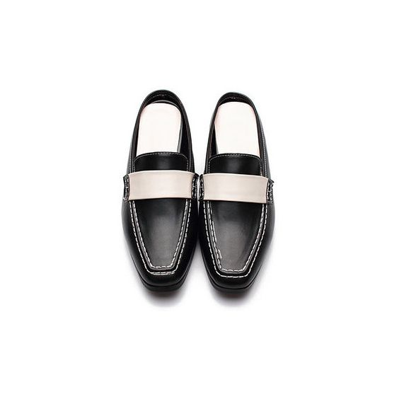 Yoins Black Leather Look Contrast Square Toe Heeled Loafers ($39) ❤ liked on Polyvore featuring shoes, loafers, low heel shoes, slip on loafers, black loafers, kohl shoes and vegan shoes