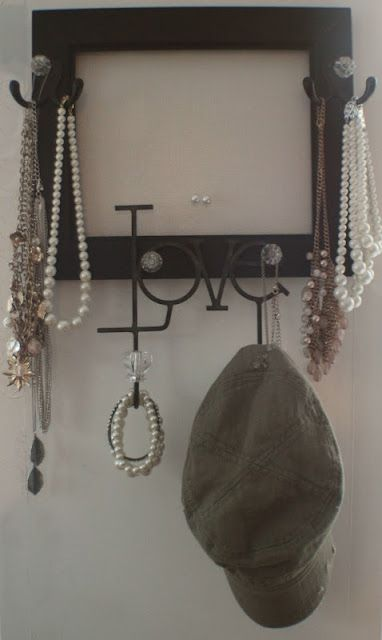 DIY Necklace & Earring Frame. No instructions, but pretty sure I could figure it out! = )