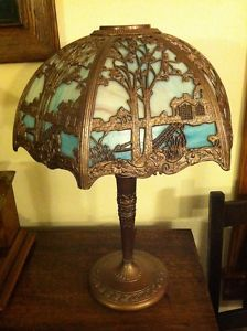 Antique 6 Panel Slag Glass Shade Table Lamp Signed Miller