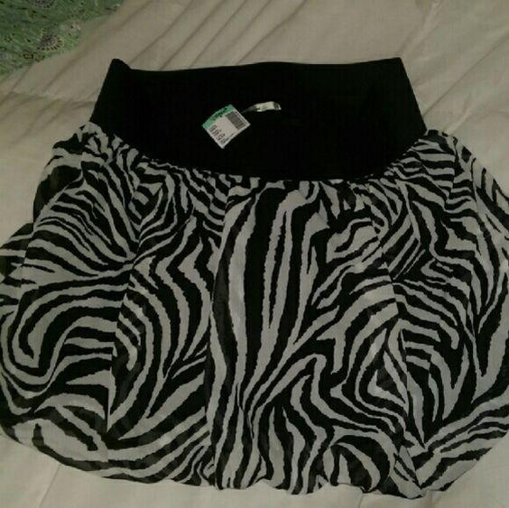 Zebra bubble skirt Papaya skirt new with tags -- never worn. Papaya Skirts Mini