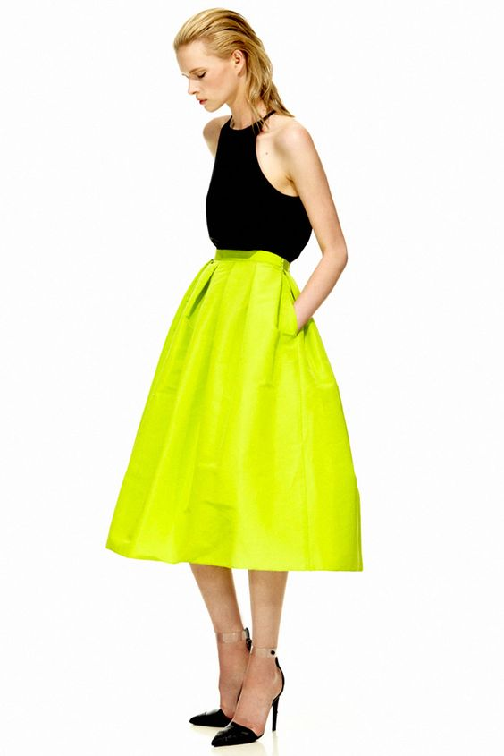 Neon yellow green full midi skirt. Tibi, Resort 2013. Model ...