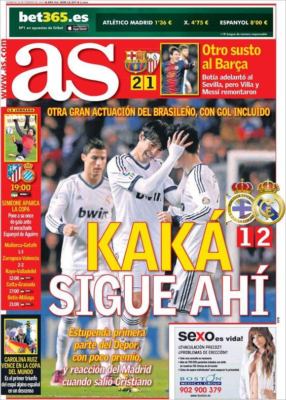 Los Titulares y Portadas de Noticias Destacadas Españolas del 24 de Febrero de 2013 del Diario Deportivo AS ¿Que le parecio esta Portada de este Diario Español?