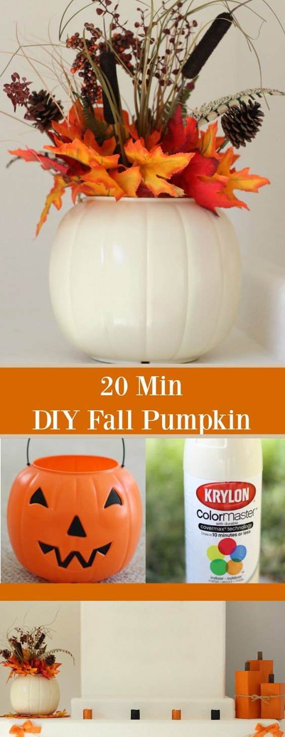 DIY Fall Pumpkin. This super easy DIY Fall Pumpkin only takes 20 minutes start to finish! Using a plastic pumpkin and a can of spray paint, make this fun fall piece!