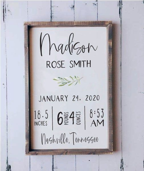 Birth Stats Wood Sign Birth Announcement Sign Baby Wooden Etsy Baby Signs Birth Announcement Sign Birth Stats Sign