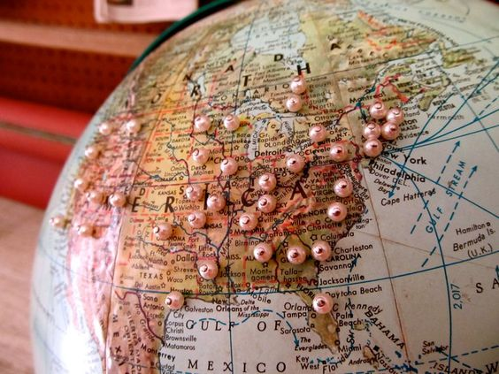 World globe with embellished pins to track your travels – World Map To Track Your Travels