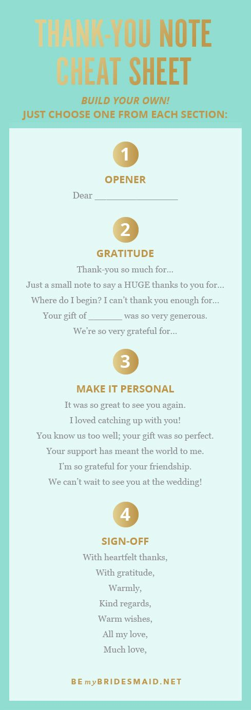 "Don't know where to start with your handwritten ""Thank You"" card? Here's a quick cheat sheet to get you thinking about what you appreciate about your students."