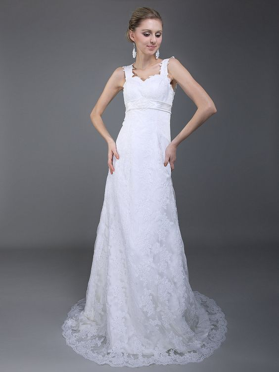 Lace Strapped Column Wedding Dress