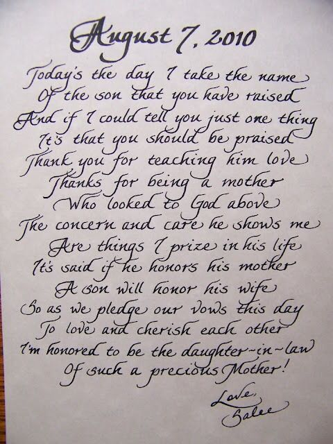 Special Gift For Son On Wedding Day : Mother of the groom giftthis is a beautiful little note that would ...