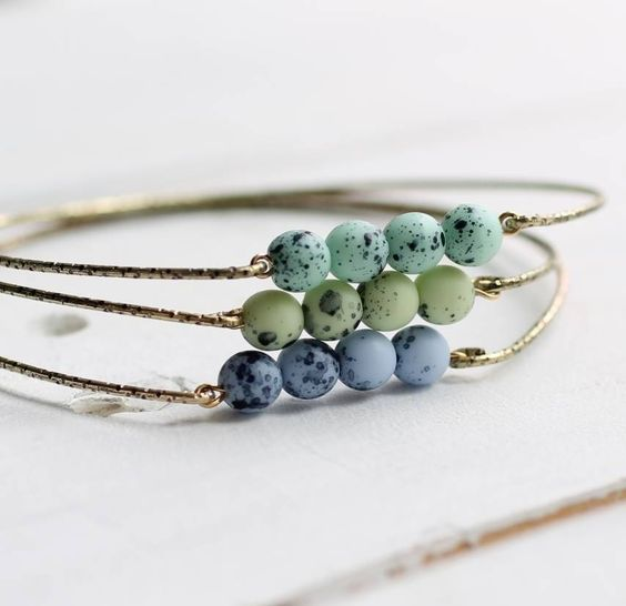 speckled egg bracelet bangle trio by silk purse, sow's ear   notonthehighstreet.com