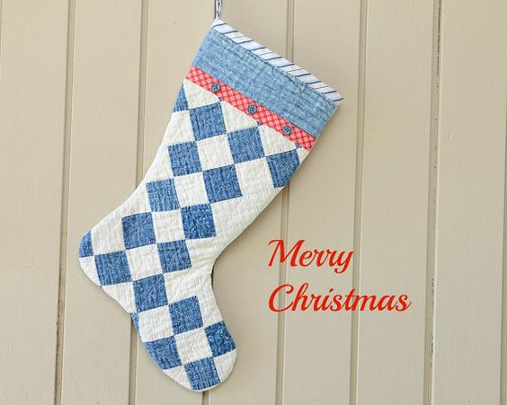 Christmas Stocking Vintage Quilt 1930s Retro by CUSHgoods