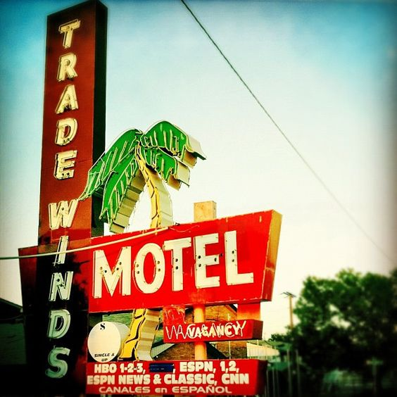 Tradewinds Motel's vintage neon sign, in Grand Prairie, Texas by MOLLYBLOCK, via Flickr