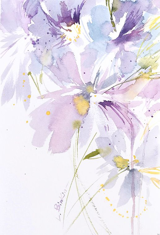 Lesia Binkin Watercolor Flowers Watercolor Flower Background