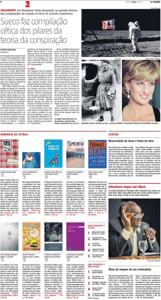 Título: Armário de Letras. Veículo: A Tarde Data: 04/04/2015. Cliente: Editora Alaúde