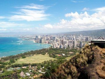 View of Waikiki from Diamond Head Crater Hike - Oahu, Hawaii