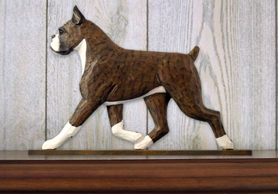 Boxer Dog Figurine Sign Plaque Display Wall Decoration Brindle