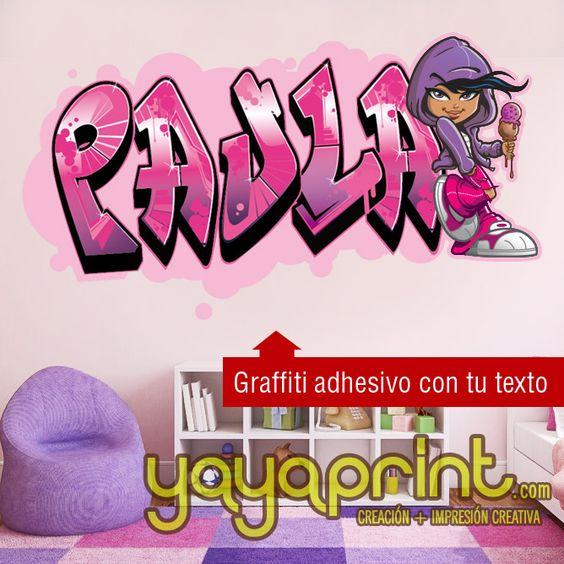Graffiti nombre decoraci n habitaci n cuarto dormitorio for Habitacion juvenil con vinilo