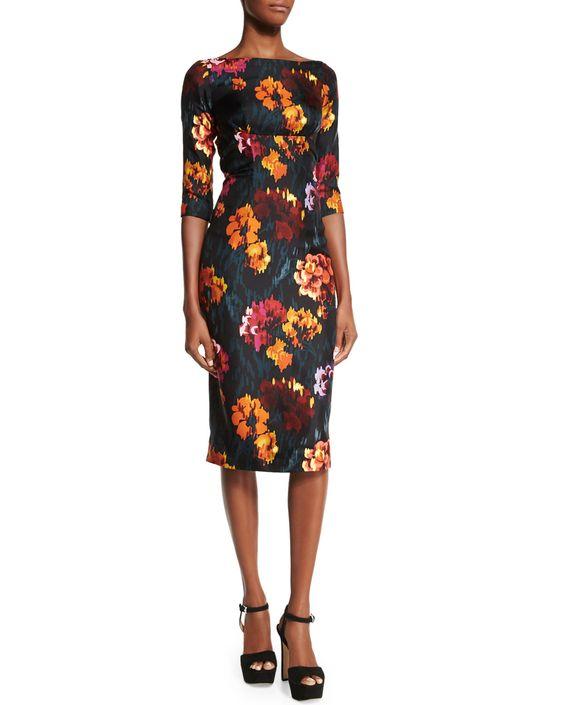 3/4-Sleeve Floral-Print Sheath Dress, Black/Multi Colors, Women's, Size: 14, Black Multi - Marc Jacobs