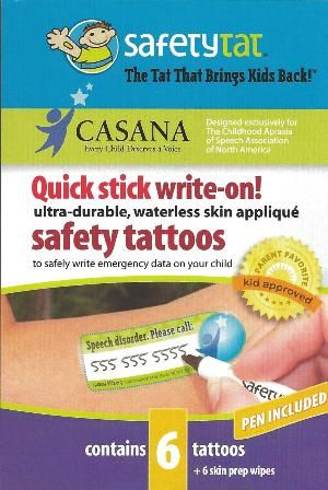 Keep your child safe! Safety Tat, temporary tattoo for children with speech disorders who can't tell people their name, contact information, etc. Check them out!   - Re-pinned by @PediaStaff – Please Visit http://ht.ly/63sNt for all our pediatric therapy pins