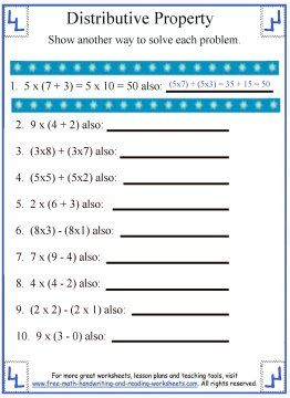 Worksheet Math Properties Worksheet math centers and worksheets on pinterest teach your child the distributive property of addition with these free printable understand all properties through online