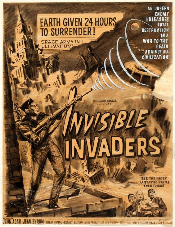 wonderful-strange:  gameraboy:Movie poster concept art for Invisible Invaders (1959)
