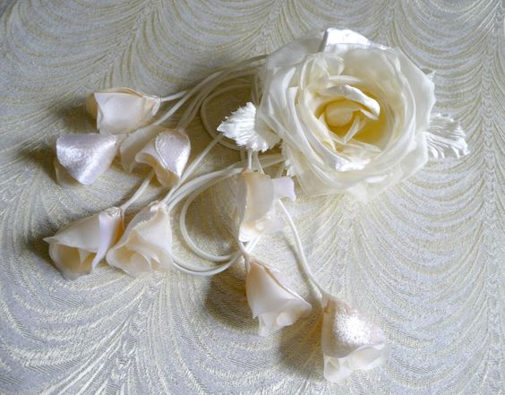 Bridal Rose and Buds Velvet and Silk Ivory for Sashes by APinkSwan