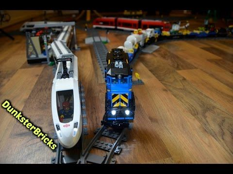 Super Long LEGO Train Track Setup! With Modified Cargo and Passenger Trains - YouTube