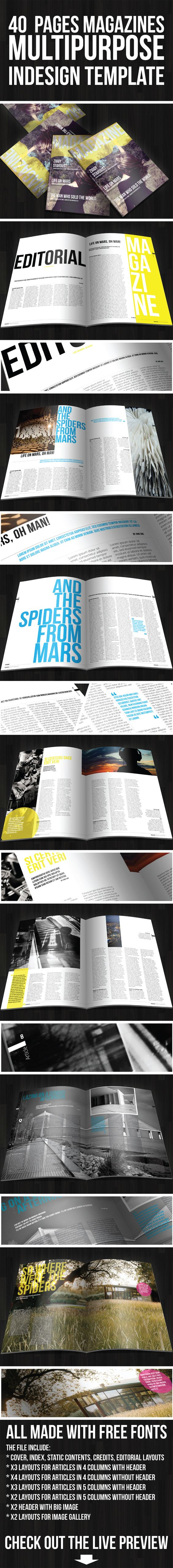 40 pages multipurpose magazine    I like the triangle split page...
