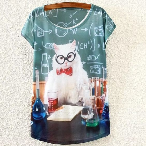 "Chemistry Cat  ➖CONDITION: New ➖SIZE: small (see measurements)  ➖STYLE: graphic blouse with ""science : chemistry cat"" ⚗ a must have for any cat loving science junkie  - science memes not included   ➖MEASUREMENTS      ➖SHOULDER: 15""     ➖BUST: 18.5"" (37 all around)      ➖LENGTH: 23.5"" Entropy Tops Blouses"
