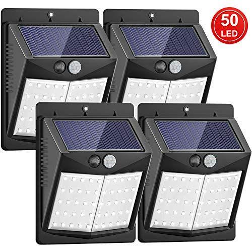 Mejoradas 50 Led Luz Solar De Exterior Sezac Luces De Seguridad Solar Sensor De Movimiento Luc Luces Al Aire Libre Sensores De Movimiento Luces De Seguridad