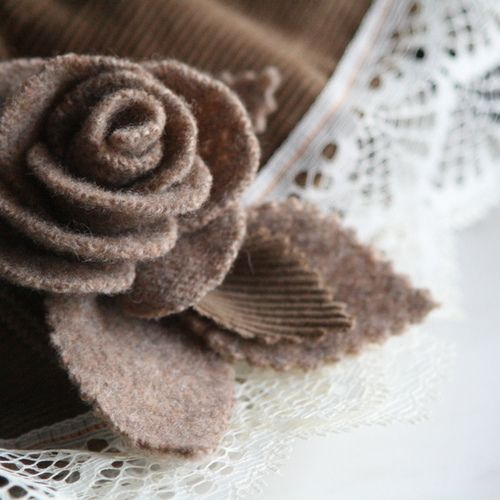 recycled sweater rose