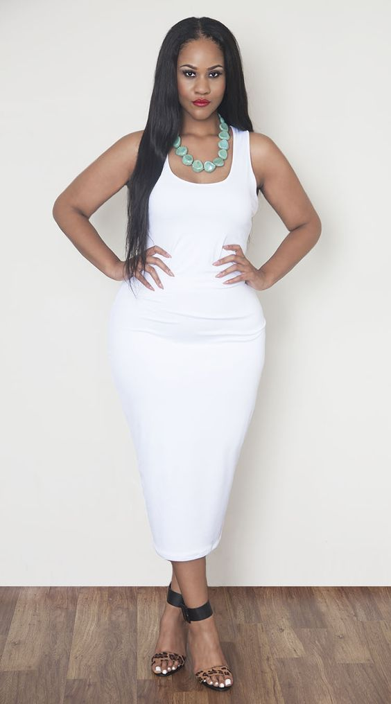 All White Plus Size Bodycon Dresses - Discount Evening Dresses