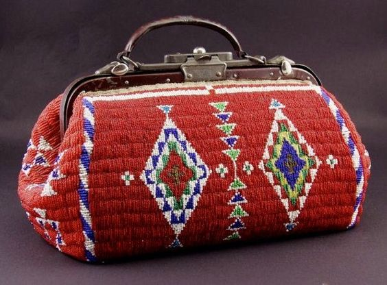 GORGEOUS Lakota beaded purse!  oH THE hours of work this took to make!