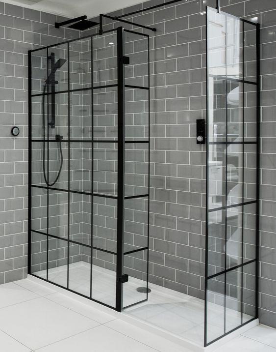 1950mm X 1200mm Walk In Black Framed Glass Shower Screen 8mm In