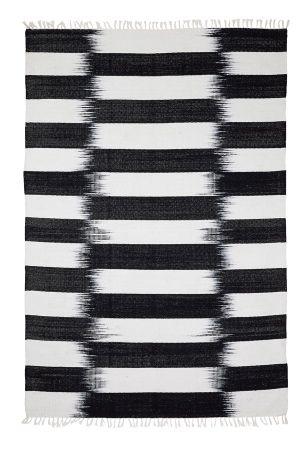 Ellos home teppe atlanta 140x200 cm svart/hvit   bomull ...