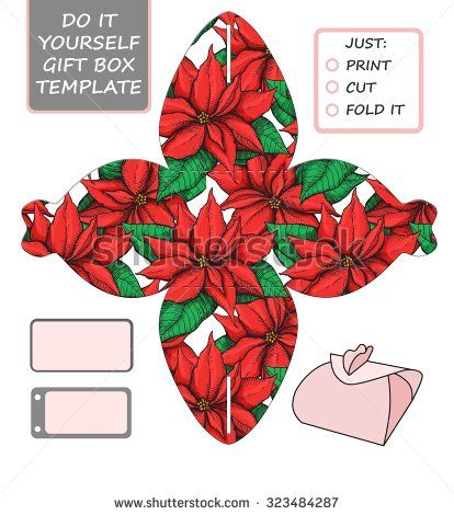 Favor, gift box die cut. Box template with poinsettia  pattern. Great for Christmas  gift packaging. - stock photo