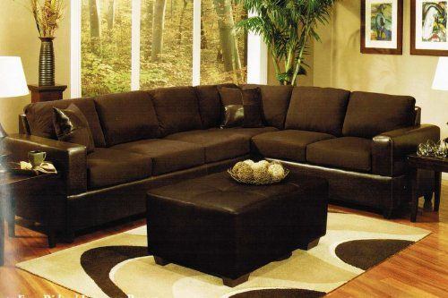 Sectional Sofa and Ottoman Set in Chocolate Fabric $798.18