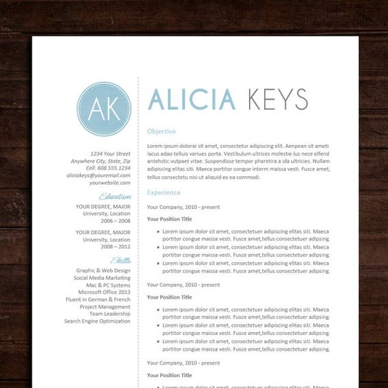 Resume CV Template The Alicia Resume Design in Blue – Word Document Templates Resume
