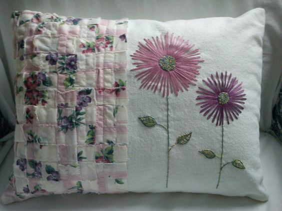 Shabby Chic Pillows On Etsy : Shabby Chic Embroidered Pillow by FoxgloveFrenchKnots on Etsy, $40.00 Cuscini Pinterest ...
