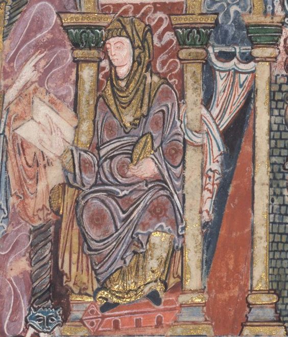 The Benedictional of St Æthelwold 963-984 Add MS 49598  Folio 5v (detail of the Annunciation) She's writing! I love it! I also can't figure out what's going on with the sleeves.